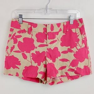 Ann Taylor Shorts Khaki Bright Pink Floral Print 0